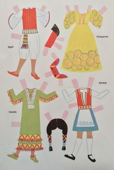 Dollies Go Round the World Paper Doll Book, 1974, 6 Pgs. Uncut Vintage Book
