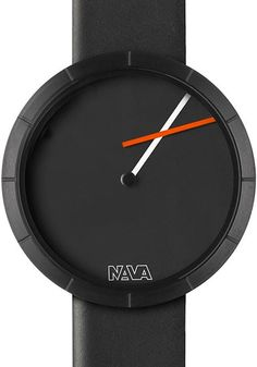 Nava Tempo Libero Black Watch -   Large Nava Tempo Libero does away with a conventional display - it twists time off its familiar axis.    A simple decentralization of the minute hand determines graphically unusual configurations. With the passage of time the clock draws geometric shapes in continuous transformation.  The design is clean and minimalist and finds its ultimate expression in the unconventional reading of time.     Because not every timepiece has to be foreboding and serious!