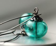 Teal Earrings, Teal Jewelry, Winter Wedding, Blue Spruce, Pine Green, Dangle Earrings, Hollow Glass Earrings - Evergreen by WildWomanJewelry on Etsy https://www.etsy.com/listing/61051244/teal-earrings-teal-jewelry-winter