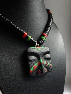 African Mask Tribal Necklace Black White Jewelry Wooden Pendant
