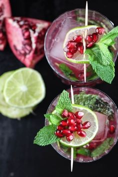 Lime + gin + pomegranate juice = holiday cheer. Get the recipe.