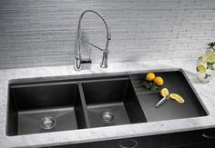 Black sink white bench, Blanco Silgranit II sink with drainboard