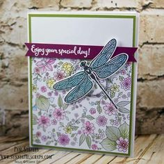 Dragonfly dreams Stampin Up. Bee Cards, Birthday Cards For Women, Stamping Up Cards, Rubber Stamping, Stampin Up Catalog, Butterfly Cards, Tampons, Pretty Cards, Paper Cards