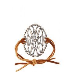 Oval Filigree Leather Wrap Bracelet