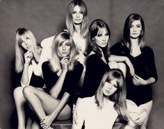 60s London models: Jenny Boyd, Jill Kennington, Sue Murray, Celia Hammond, Pattie Boyd, and Tania Mallet.