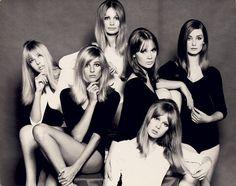 60s London models: Jenny Boyd, Jill Kennington, Sue Murray, Celia Hammond, Pattie Boyd, and Tania Mallet.