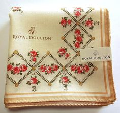Royal Doulton Handkerchief scarf bandana Cotton Beige Collectible Auth New