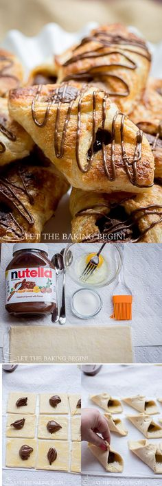 Nutella Puff Pastry Danish - 10 minutes of your time and you can be enjoying these ridiculously delicious danishes as well! Check out the step by step photo tutorial! @Let the Baking Begin! |   LetTheBakingBegin...