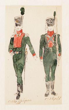 Officier en soldaat van het 1e Regiment en 2e Regiment Lichte Infanterie
