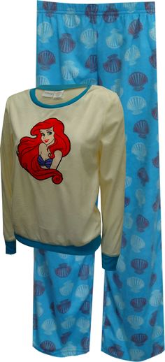 Warm and cozy! These awesome pajamas for ladies feature Disney's Little Mermaid Ariel on a soft velvety feeling fabric. All over print pants have a pretty seashell pattern and have an elastic waist. Machine washable and easy care. Junior cut.