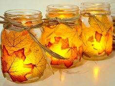 Allow the warm colors of autumn leaves to shine throughout your home with these easy DIY candle holders. Get this tutorial at Spark and Chemistry.   - CountryLiving.com