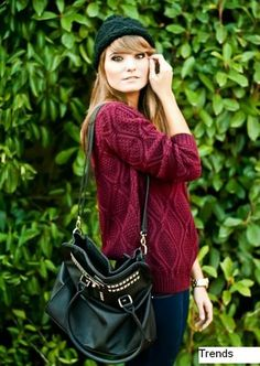 Fast Shipping Dark Red Long Sleeve Diamond Patterned Pullover Sweater   Fashion4you - Clothing on ArtFire