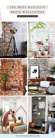 Brick wallpaper is an excellent way of creating interest in your space. The exposed brick wall look is very popular for creating chic urban decor. This type of industrial wallpaper can add a sense of rustic charm or modern flare. Industrial Wallpaper, Rustic Wallpaper, Urban Decor, Exposed Brick Walls, Brick Wallpaper, Chic Living Room, Diy Home Decor, Sweet Home, Rustic Charm