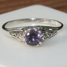 Alexandrite Ring Sterling Silver Filigree by MaggieMcManeDesigns, $120.00
