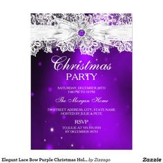 Elegant Lace Bow Purple Christmas Holiday Party 6.5x8.75 Paper Invitation Card