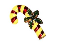 Vintage Enamel Gold-tone Candy Cane Brooch Pin with Green Holly by BeccasBestJewelry on Etsy