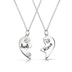 Bling Jewelry 925 Sterling Ladybug Aunt Niece Split Heart Necklace Set 16in