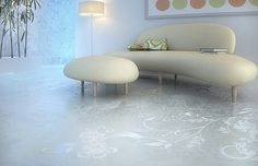 Acid etched concrete floor