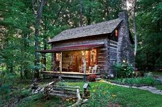 Cabins And Cottages: The vintage cabin, likely built in the was . Old Cabins, Cabins And Cottages, Cabins In The Woods, Tiny Log Cabins, Small Cabins, Log Cabin Living, Log Cabin Homes, Cabin Crafts, Vintage Cabin