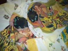 Silk poncho handmade painting with the Kiss by Gustav Klimt