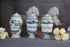 Set of 3 Delft Pottery Porcelain Marked Apothecary Pharmacy Jars Polychrome | eBay