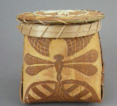 Etched birch bark basket with quillwork by Barry Dana, Penobscot