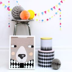 Bright and cheery on a dull day. #thismodernlife #colourful #brightbunting #seventytree #bear #bearposter #fermliving #geometric #storage #tins #paperpompoms