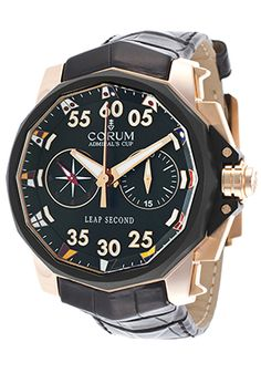Corum A895-00426 Watches,Men's Foudroyante 48 Automatic Chronograph Black Genuine Alligator, Luxury Corum Automatic Watches