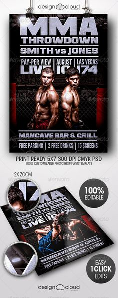 Mma Fight Flyer Template Vol   Flyer Template Mma And Psd