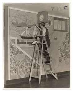 Benjamin Knotts at work on a WPA mural at Julia Tichman High School, 67 St. & 2nd Ave., N.Y.C.. Citation: Ben Knott, ca. 1936 / unidentified photographer. Federal Art Project, Photographic Division collection, Archives of American Art, Smithsonian Institution.