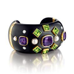 Verdura Byzantine Cuff.      Black jade, amethyst, peridot, diamond, pearl and gold.