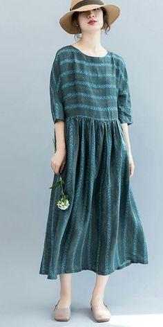 VINTAGE GREEN STRIPED MAXI DRESSES WOMEN 100% LINEN CLOTHES Q3073