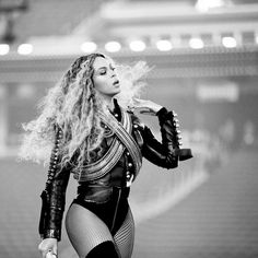 Beyonce Steals the Halftime Show at Super Bowl 50. #fishnet #tights  from InStyle.com