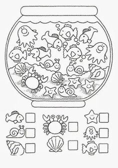 Crafts,Actvities and Worksheets for Preschool,Toddler and Kindergarten.Free printables and activity pages for free.Lots of worksheets and coloring pages. Animal Worksheets, Printable Preschool Worksheets, Kindergarten Math Worksheets, Worksheets For Kids, Ocean Activities, Learning Activities, Preschool Activities, 2 Kind, Math For Kids