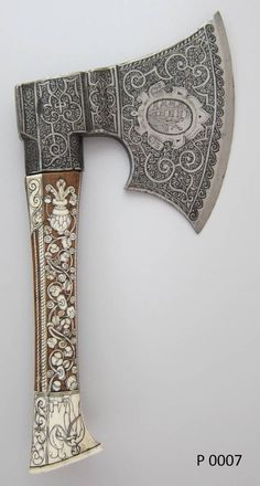 Lock, Stock, and History — Ornate German hand axe, late century. Swords And Daggers, Knives And Swords, Vikings, Hand Axe, Beil, Pretty Knives, Sculpture Metal, Cool Swords, Armadura Medieval
