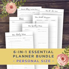 PERSONAL Planner Inserts Printable 6-in-1 by PrintablePineapple
