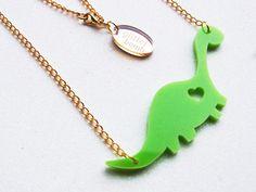 Acrylic Dinosaur Necklace DIPPY DINO Green Laser by GlitterbombUK, £9.00