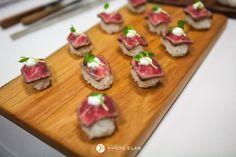Wagyu Striploin Sushi with daikon sprouts & horseradish cream | Lisa Dupar Catering, Seattle