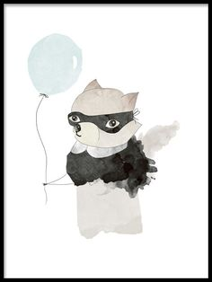 Cute poster, children's print with an illustration of a raccoon holding a blue balloon. A really nice print for a kids room. You can easily buy kids prints in our webshop! Lots of cute posters and prints for children. Collage, Poster 40x50, Blue Poster, Kids Poster, Kids Prints, Buy Prints, Hakuna Matata, Modern Art Prints, Batman Poster
