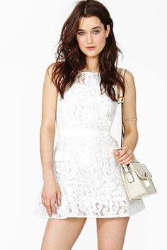 Veiled Lace Dress - White