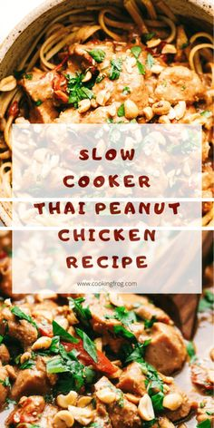 This Slow Cooker Thai peanut chicken recipe is the best buttery peanut flavored chicken that is served over thick, rich noodles i have ever made. It's easy to do, this is just a small walk-through to add all the ingredients together. Healthy Slow Cooker, Slow Cooker Recipes, Crockpot Recipes, Cooking Recipes, Peanut Recipes, Best Slow Cooker, Thai Peanut Chicken, Thai Chicken Recipes, Kung Pao Chicken