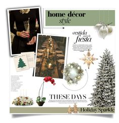 """""""Holiday Party at Home"""" by pippi-loves-music ❤ liked on Polyvore featuring interior, interiors, interior design, home, home decor, interior decorating, Ultimate, GE, Nearly Natural and National Tree Company"""