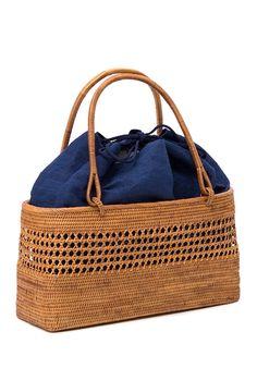 くるりの浴衣や着物に。巾着袋付き上質な手作りかごバッグ。手提げ 籠バッグ BAG
