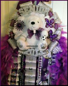 made by www.melzmumz.com   Super Size Single Mega Mum  Senior Soccer with purple accents  Flower Mound High School