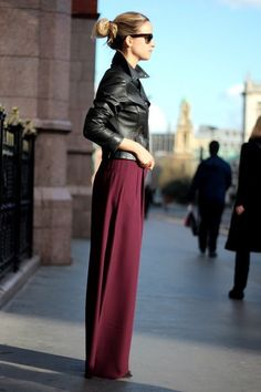 Discover this look wearing Brick Red Acne Pants, Black PAUW Jackets, Black Ray Ban Sunglasses tagged inspiration, maxi - Palazzo part 2 by thefashionguitar styled for Trendy, Fashion Show in the Spring Fashion Moda, Look Fashion, Fashion Show, Womens Fashion, Julien Fournié, Parisienne Chic, Looks Chic, Mode Hijab, Mode Inspiration