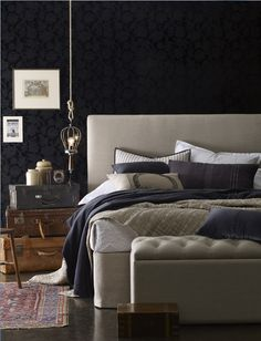 dramatic dark bedroom // #anthropologie #pintowin