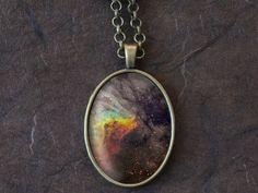 Nebula Necklace, Space Galaxy Pendant, Nebula Jewelry, Universe Stars (1507B)
