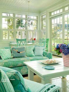 aqua green and turquoise living room-seaside home