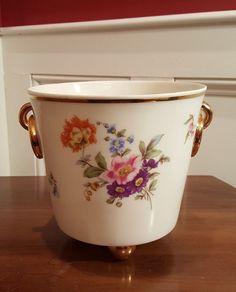 VTG Dresden Glazed Porcelain Floral ICE WINE BUCKET-Freiberger Porzellan-MINT #DresdenBoneWhiteGlazed #Victorian