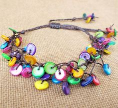 Colourful Multi Line Mother of Pearl Shell Knot Bracelet